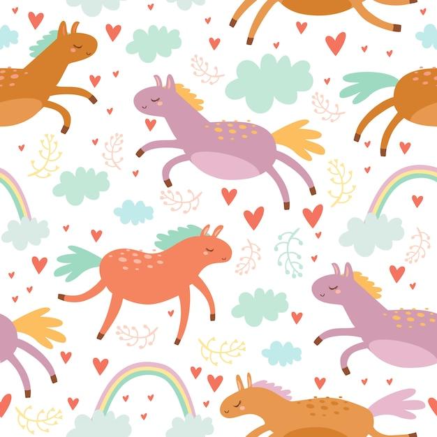 Pastel de patrones sin fisuras con caballos de colores vector gratuito