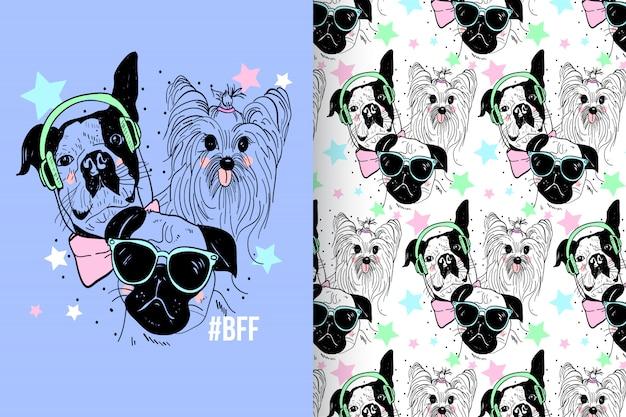 Pastel de perro lindo con conjunto de vectores de patrón Vector Premium