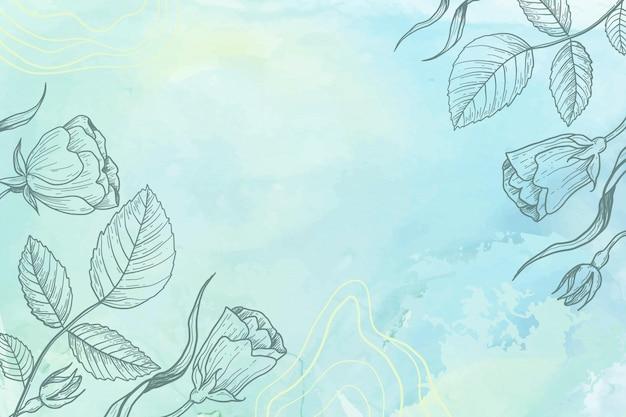 Pastel de polvo azul con fondo de flores dibujadas a mano vector gratuito