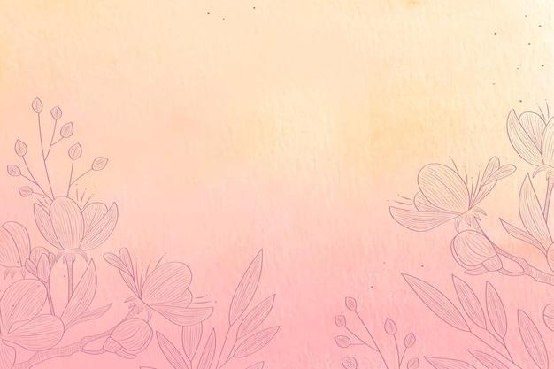 Pastel en polvo con elementos dibujados a mano - fondo vector gratuito