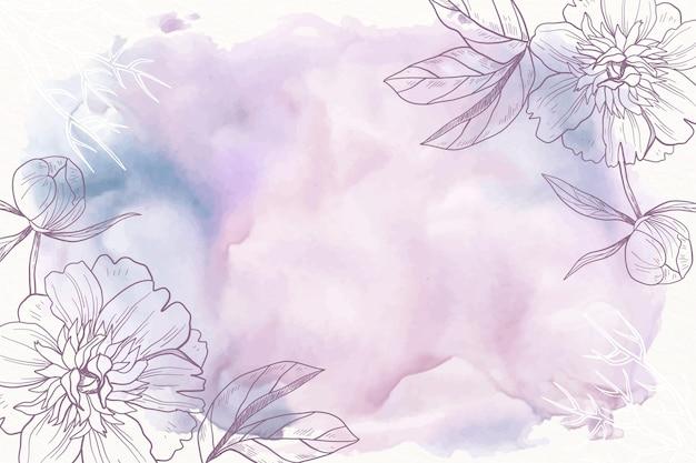 Pastel de polvo púrpura con fondo de flores dibujadas a mano Vector Premium