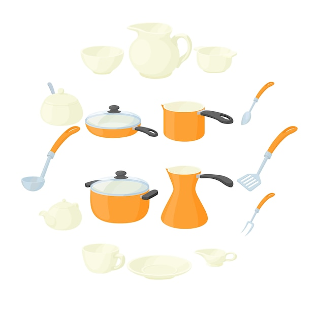 Pastelería set iconos, estilo de dibujos animados Vector Premium