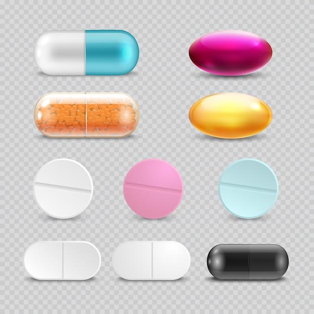 Pastillas analgésicas medicina Vector Premium