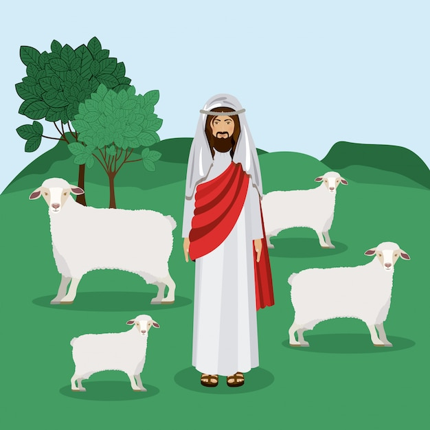 Pastor, ilustración vectorial Vector Premium