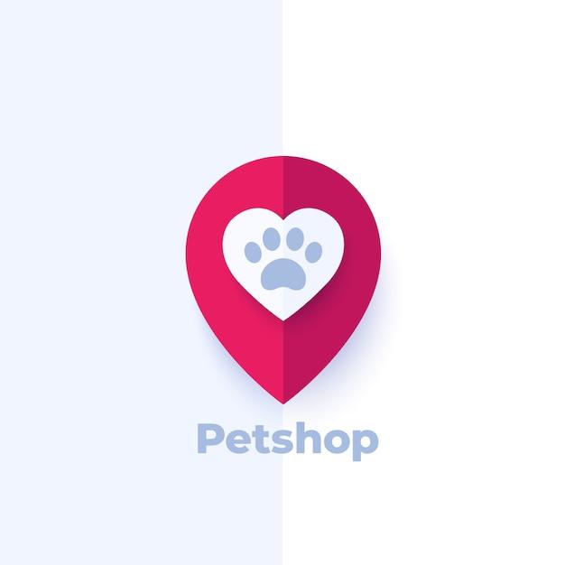 Pata y corazón en marca, diseño de logotipo de tienda de mascotas Vector Premium