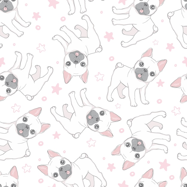 Pata de perro bulldog francés de patrones sin fisuras Vector Premium