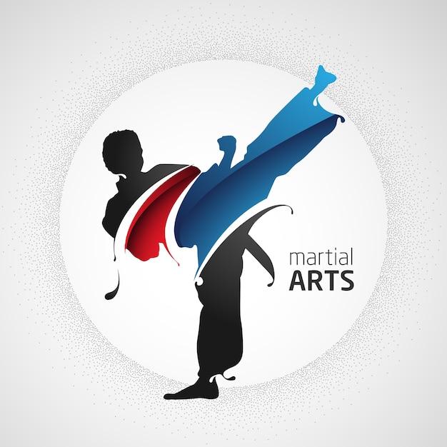 Patada de artes marciales Vector Premium