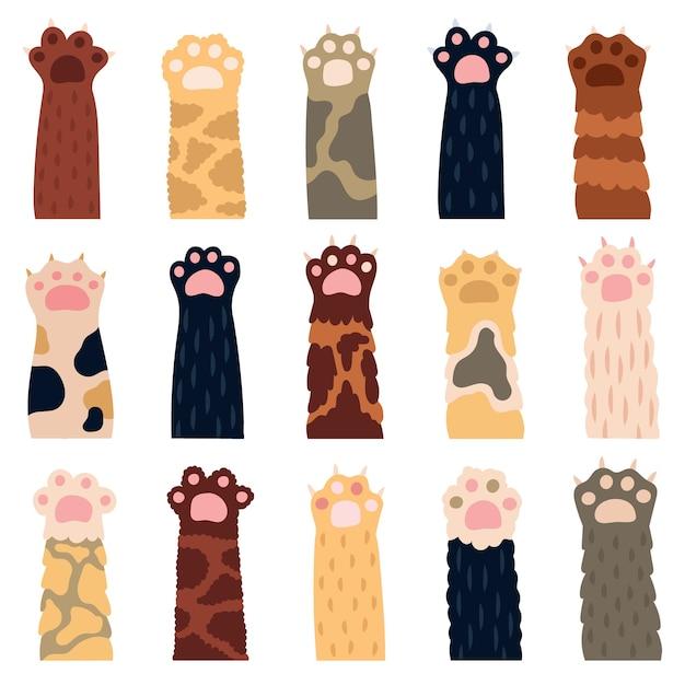 Patas de gato. pata de gatito lindo, garabatos divertidas patas de piel de gato doméstico, huellas de gatito doméstico, mascotas con garras iconos de ilustración. gatito amigable con la pata, doméstico esponjoso varios Vector Premium