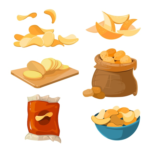 Patatas fritas saladas bocadillos bocadillos vector conjunto Vector Premium