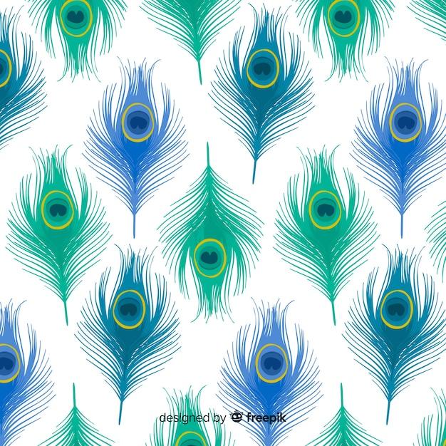 Patrón adorable de plumas de pavo real con diseño plano vector gratuito