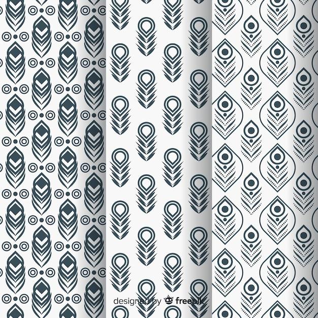 Patrón adorable de plumas de pavo real con diseño plano | Descargar ...