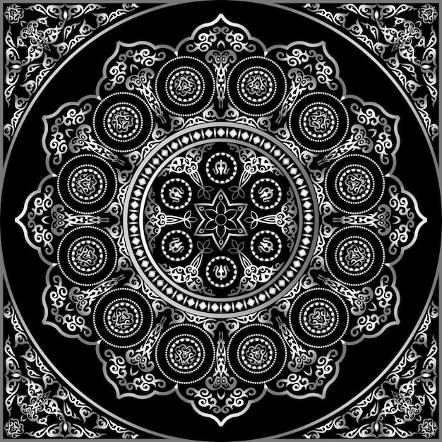Patrón de adorno redondo gris sobre negro - árabe, islámico, estilo oriental Vector Premium
