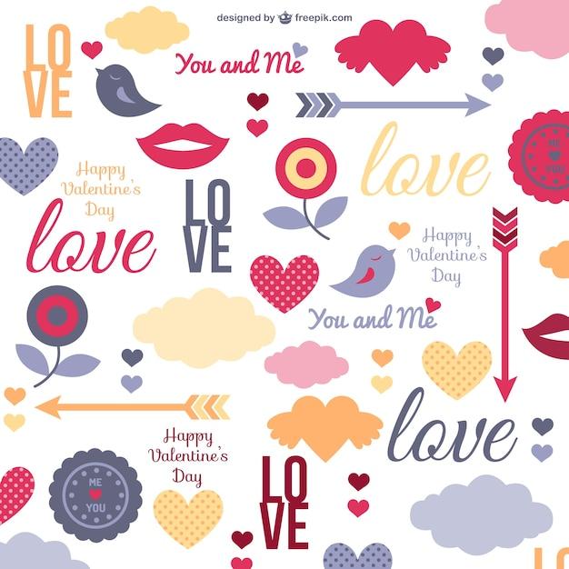 Patrón de amor vector gratuito