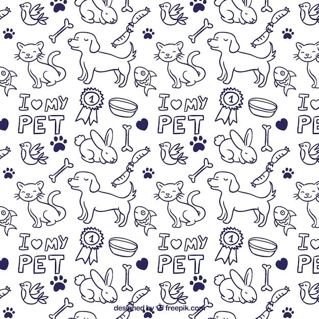 Patrón de animales dibujados a mano vector gratuito