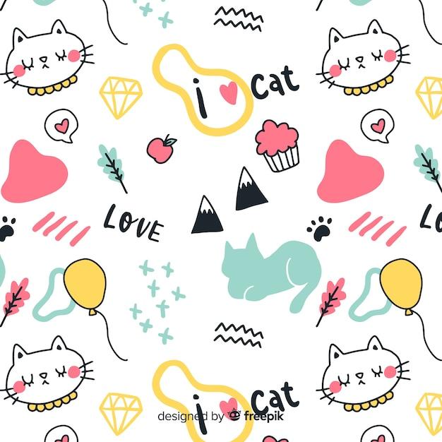 Patrón animales y palabras dibujados a mano vector gratuito