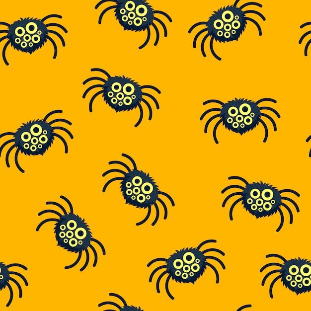 Patrón de arañas divertidas. Vector Premium