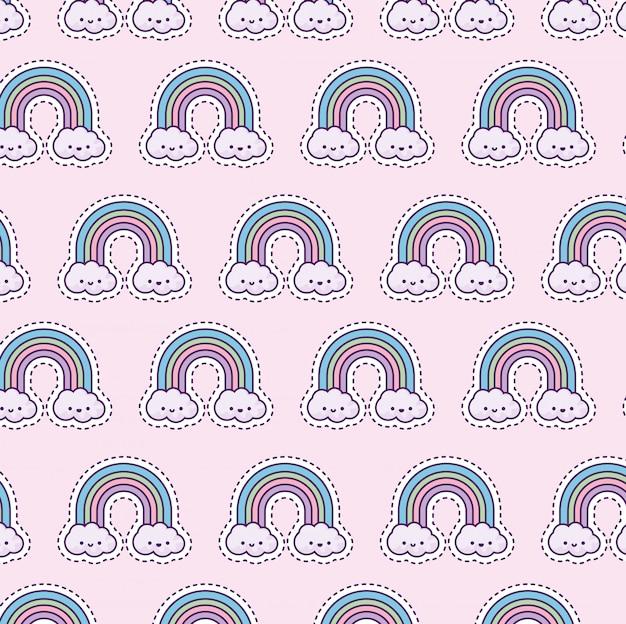 Patrón con arcoiris y nubes, estilo parche Vector Premium