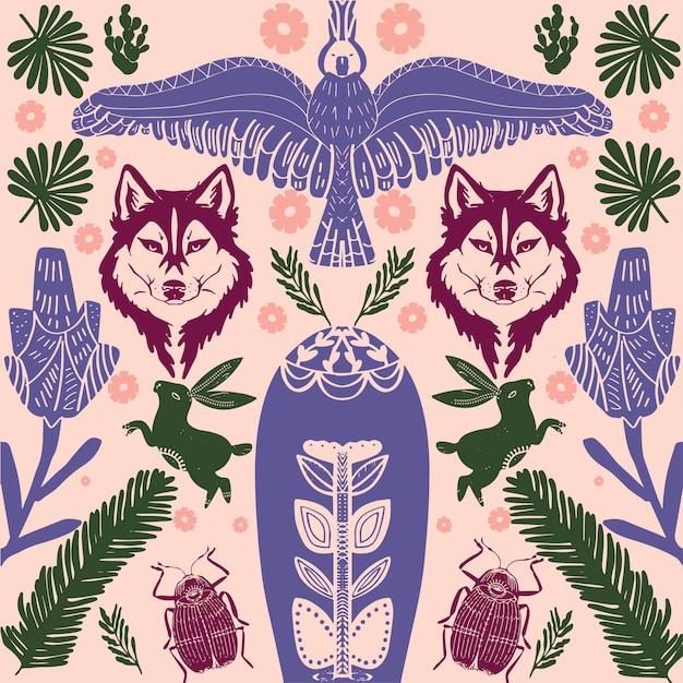 Patrón de arte popular escandinavo con pájaros y flores Vector Premium