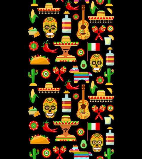 Patrón con atributos tradicionales mexicanos. Vector Premium