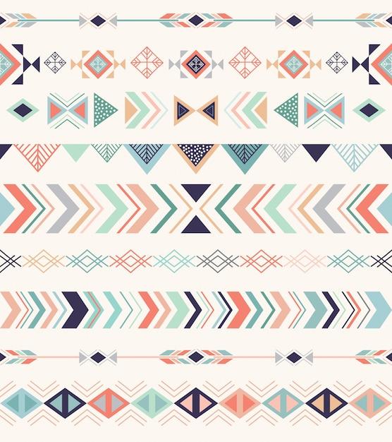 Patrón azteca, patrones sin fisuras con elementos geométricos. Vector Premium