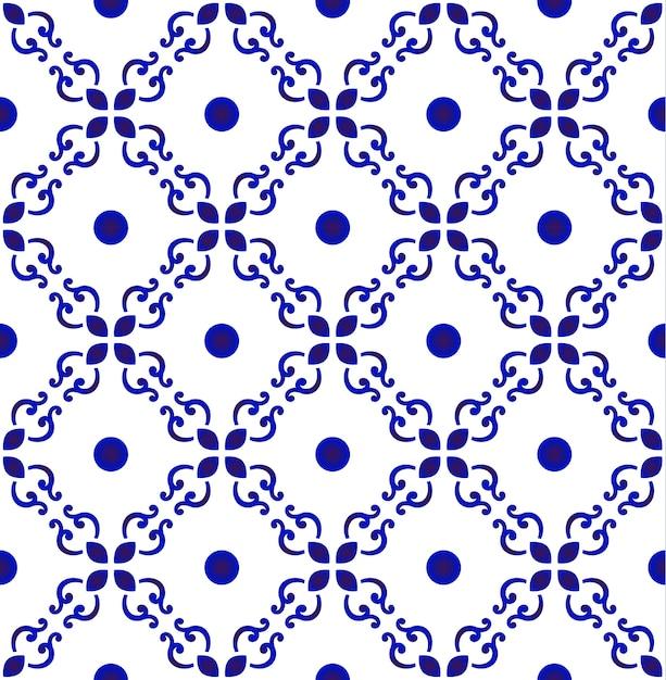 Patrón de azulejo inconsútil floral abstracto Vector Premium