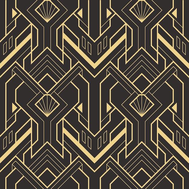 Patrón de azulejos modernos sin costura art deco abstracto Vector Premium