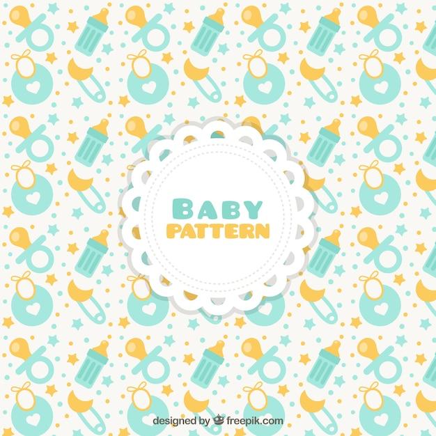 Patrón de bebé con chupetes y baberos | Descargar Vectores gratis