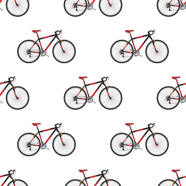Patrón de bicicleta en bicicleta deportiva de estilo plano. Vector Premium