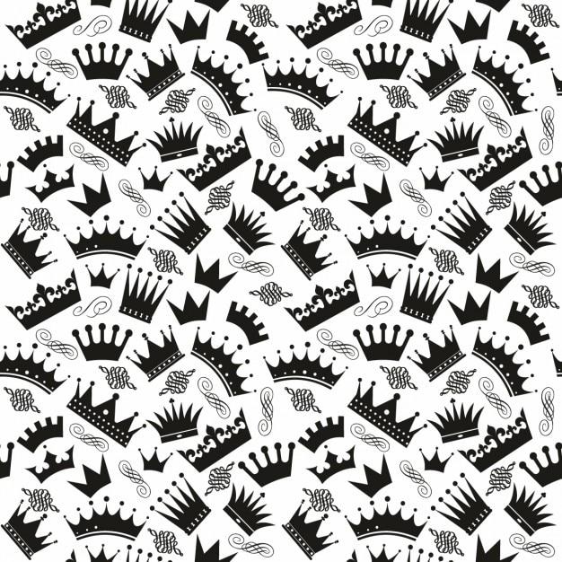 Patrón Blanco Y Negro Con Coronas Descargar Vectores Gratis