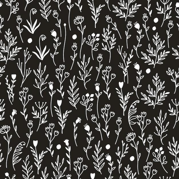 Patrón blanco y negro con flores vector gratuito