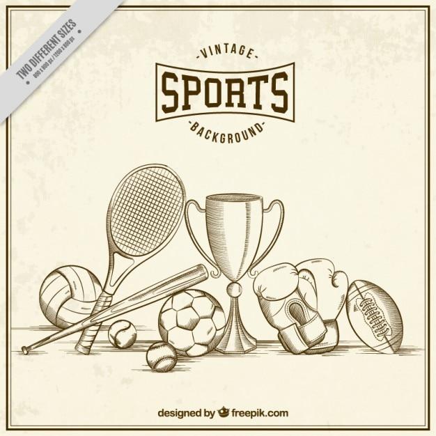 Patrón de bocetos de elementos de deporte vector gratuito