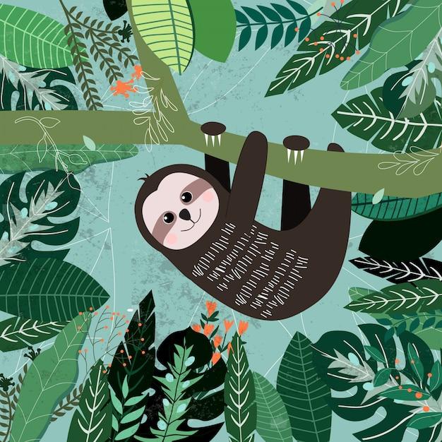 Patrón botánico de licencia verde tropical, concepto jardín. Vector Premium