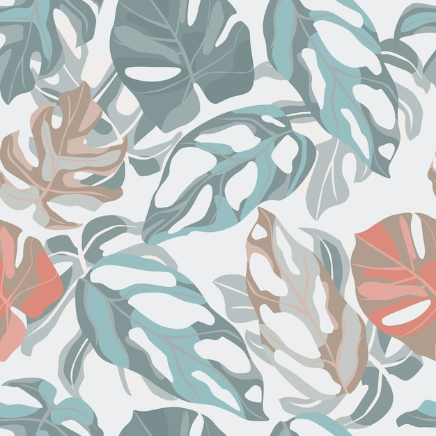 Patrón botánico suave pastel transparente con adorno de hoja de monstera. Vector Premium