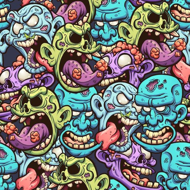 Patrón de cabezas de zombie Vector Premium