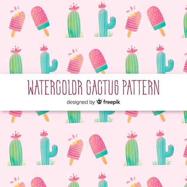 Patrón cactus acuarela vector gratuito