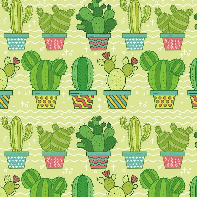 Patrón de cactus colorido Vector Premium