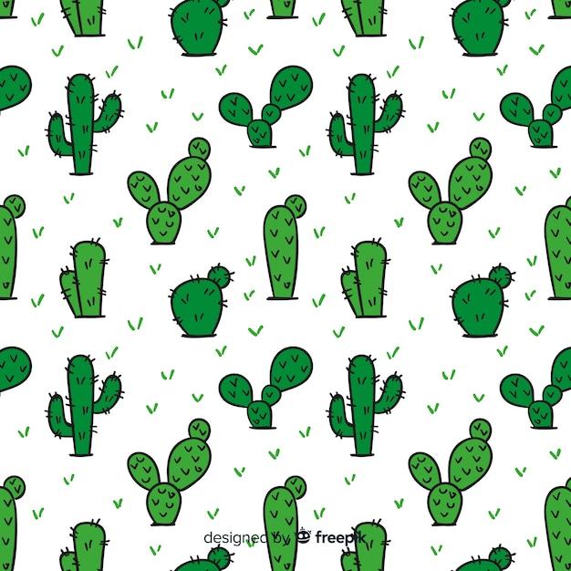 Patrón cactus dibujado a mano Vector Premium
