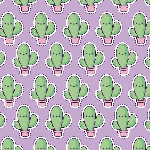 Patrón con cactus tropical Vector Premium