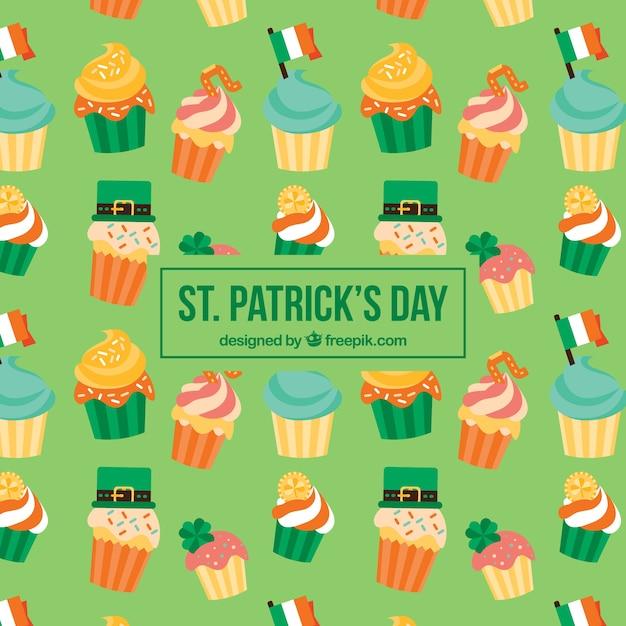 Patrón de capcakes del día de san patrick vector gratuito
