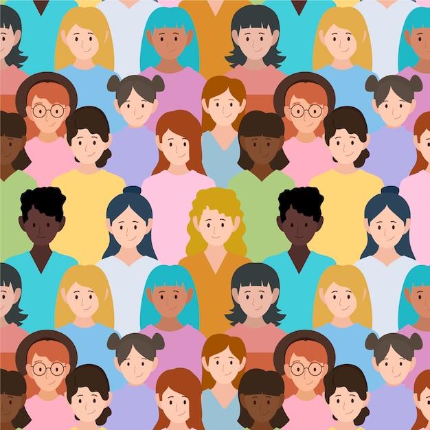 Patrón con caras de mujeres para evento vector gratuito