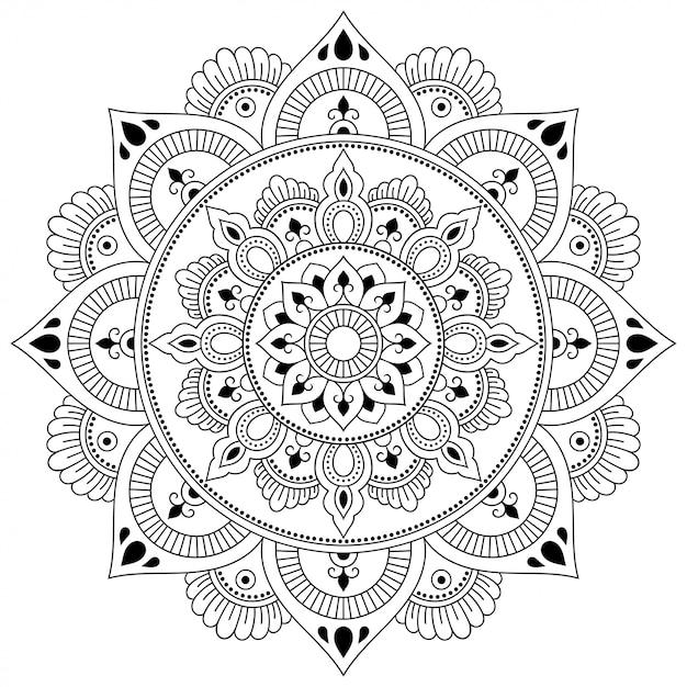 Patrón circular en forma de mandala con decoración de flores. adorno decorativo en estilo étnico oriental. esquema doodle mano dibujar ilustración. Vector Premium