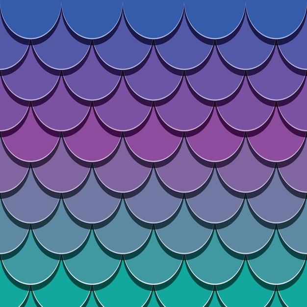 Patrón de cola de sirena. el papel cortó el fondo de la piel de los pescados 3d. Vector Premium