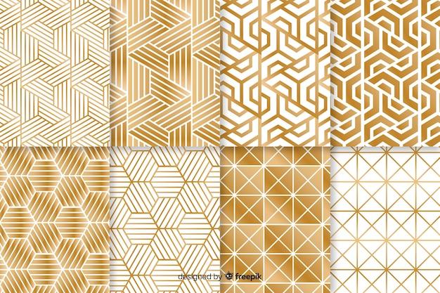 Patrón de colección con forma geométrica de lujo. vector gratuito