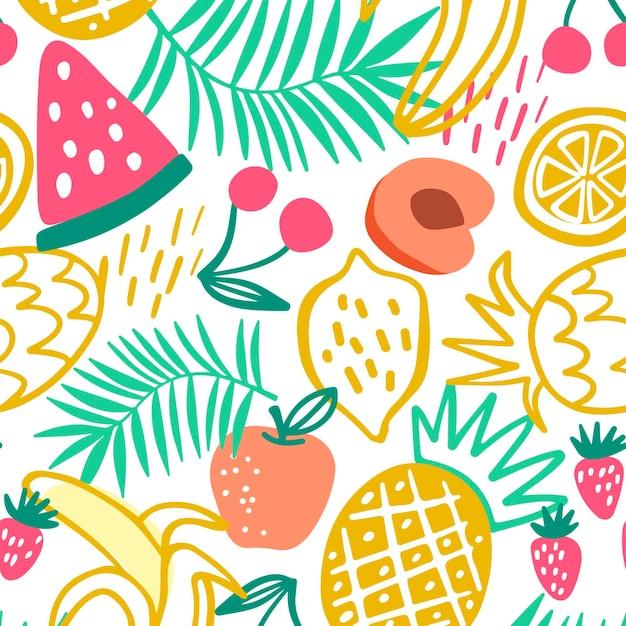 Patrón de coloridas frutas dibujadas vector gratuito