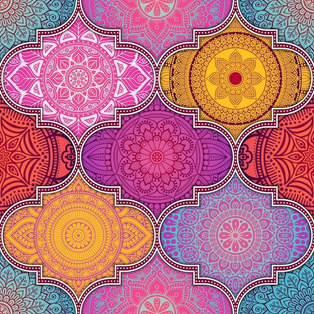 Patrón colorido abstracto étnico vector gratuito