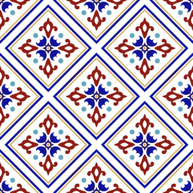 Patrón colorido floral abstracto Vector Premium