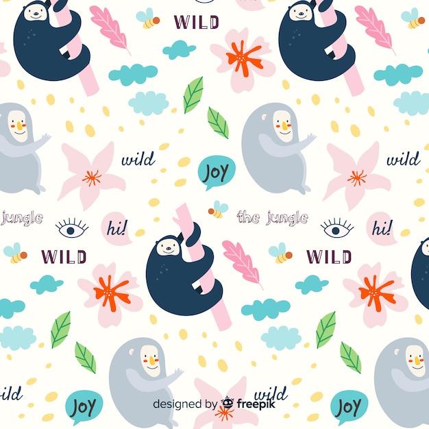 Patrón colorido de garabatos de animales y palabras vector gratuito