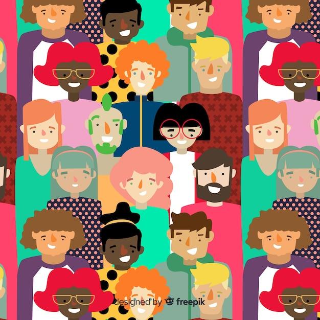 Patrón colorido de gente joven vector gratuito