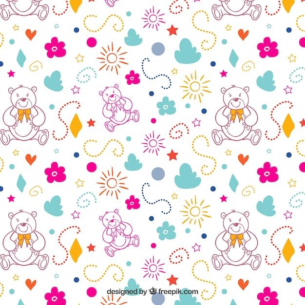 Patrón colorido con osito de peluche | Descargar Vectores gratis