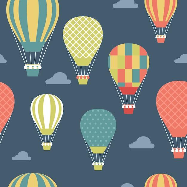 Patr n con globos aerost ticos de colores descargar - Globos aerostaticos infantiles ...